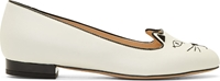 Charlotte Olympia White Glow In The Dark Kitty Flats