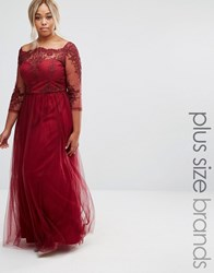 Chi Chi Plus London Premium Lace Bodice Maxi Dress With Tulle Skirt Red