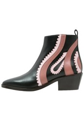 Pinko Cascate Texano Ankle Boots Nero Rosa Black