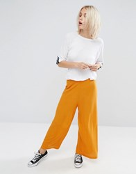 Asos Jersey Textured Wide Leg Trousers Mustard Yellow Multi