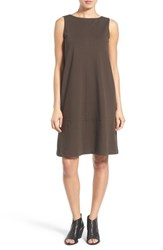 Eileen Fisher Petite Women's Bateau Neck Drop Waist Shift Dress Peat