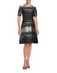 Teri Jon Patterned A Line Dress Black