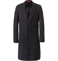 Paul Smith Ps By Checked Boucle Overcoat Black