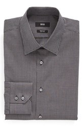 Boss Men's Big And Tall Regular Fit Easy Iron Check Dress Shirt Black