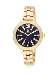Adrienne Vittadini Goldtone Bracelet Watch Gold Navy
