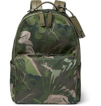 Valentino Studded Printed Shell Backpack Army Green
