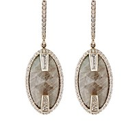 Monique Pean Atelier Women's White Diamond And Green Sapphire Drop Earrings No Color