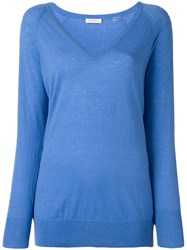 Equipment V Neck Jumper Blue