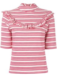 Fleamadonna Ruffled Striped Top Red