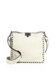 Valentino Rockstud Small Leather Hobo Bag Ivory