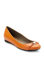 Versace Leather Ballet Flats Orange