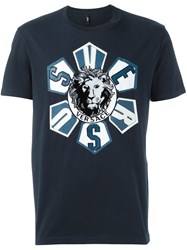 Versus Roulette Lion Head T Shirt Blue