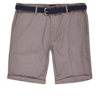 River Island Mens Red Dogtooth Print Belted Shorts
