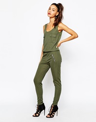 Daisy Street Rib Jumpsuit With Military Pocket Detail Khaki