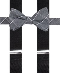 Alfani Men's Holiday Grid Bow Tie And Suspender Set Only At Macy's Black