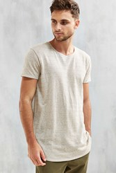 Urban Outfitters Uo Hemp Blend Long Loose Scoopneck Tee Cream