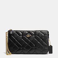 Coach Canyon Quilt Nolita Wristlet 24 In Calf Leather Light Gold Black