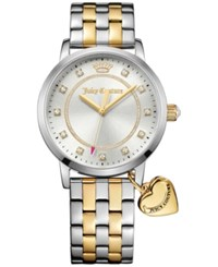 Juicy Couture Women's Socialite Two Tone Stainless Steel Bracelet Watch With Charm 36Mm 1901477 Silver