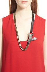 Lanvin Women's Crystal Bow Leather And Chain Necklace