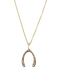 Annina Vogel 9Ct Yellow Gold Pearl Wishbone Necklace