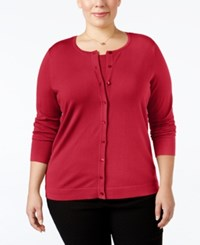 August Silk Plus Size Blend Cardigan Uno Red