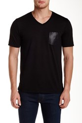 The Kooples Snake Embossed Genuine Leather Pocket V Neck Tee Black