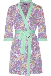 Cosabella Flutter Floral Print Pima Cotton And Modal Blend Robe Purple