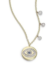 Meira T Sapphire Diamond And 14K Yellow Gold Evil Eye Disc Charm Necklace