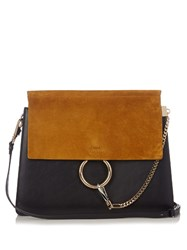 Chloe Faye Medium Suede And Leather Shoulder Bag Navy Multi