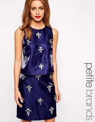 True Decadence Petite Embellished Sleeveless Top Navy