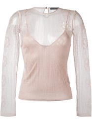 Alexander Mcqueen Flower Knit Lace Top Pink And Purple