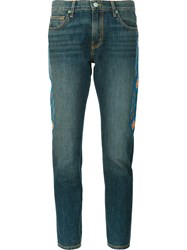 Sandrine Rose Embroidered Skinny Boyfriend Jeans Blue