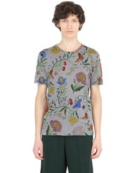 Gucci Floral Printed Cotton Jersey T Shirt