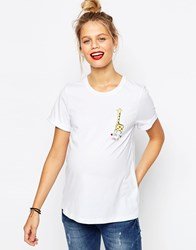 Asos Maternity T Shirt With Love You Long Time Giraffe White