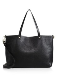 Luana Italy Carlyle Reversible Saffiano Leather And Pebbled Leather Tote Black White