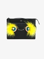 Fendi Crayons Mini Leather And Fox Fur Pouch Black Multi Coloured Yellow Silver