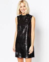 Asos Denim Turtle Neck Dress With Sequins And Rips Black