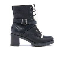 Ugg Women's Ingrid Leather Sheepskin Lace Up Heeled Boots Black