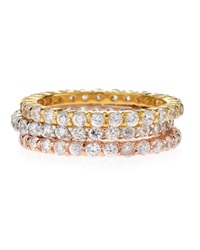 Freida Rothman Belargo Tricolor Stackable Cz Eternity Rings Gold Silver Tan Black Red