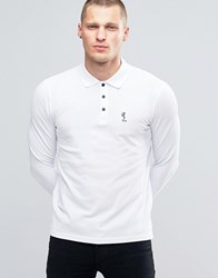 Religion Long Sleeve Pique Polo White Black Skel