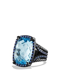 David Yurman Ring With Blue Topaz And Blue Sapphire Blue Black