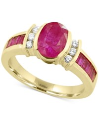 Effy Amore By Certified Ruby 2 1 5 Ct. T.W. And Diamond 1 8 Ct. T.W. Ring In 14K Gold Yellow Gold