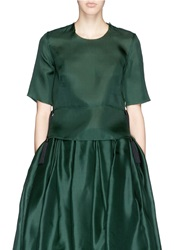 Ms Min Tassel Trim Silk Organza T Shirt Green