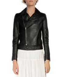 Saint Laurent Long Sleeve Leather Moto Jacket Black Women's