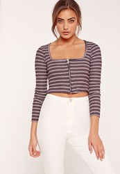 Missguided Square Neck Rib Zip Front Stripe Crop Top Purple