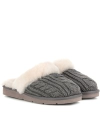 Ugg Shearling Lined Knitted Slippers Grey