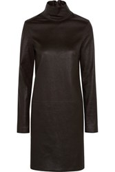 Calvin Klein Collection Leather Turtleneck Mini Dress Dark Brown