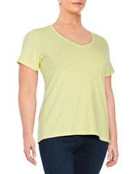 Lord And Taylor Plus Stretch Cotton V Neck Tee Iced Lemon