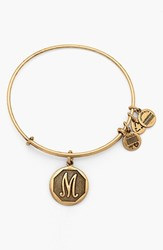 Women's Alex And Ani 'Initial' Adjustable Wire Bangle M Russian Gold