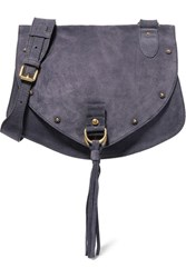 See By Chloe Collins Medium Suede And Textured Leather Shoulder Bag Navy